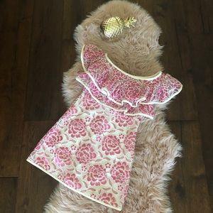 Alexis pink ruffle lace dress